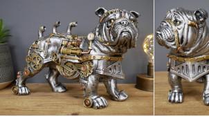 Bulldog en résine collection Steampunk, décoration à poser insolite effet engrenages en métal, 30cm