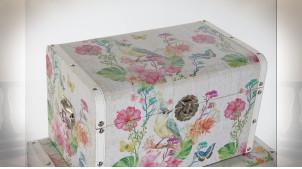 Série de 3 coffres de rangements motifs d'oiseaux et de fleurs ambiance campagne chic, 61cm