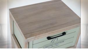 Meuble d'appoint 3 tiroirs finition naturelle blanchie et couleurs pastel, 94cm
