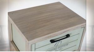 Meuble de rangement en bois finition naturelle et couleurs pastel, 73cm