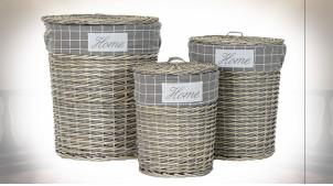 Série de 3 corbeilles à linge en osier finition naturelle vieillie, doublure en tissu gris 55cm