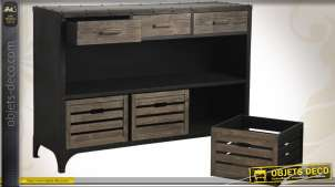 Console métal style industriel avec tiroirs et bacs amovibles