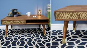 Table basse en bois de manguier massif et laiton, motifs de zébrures dorées en relief effet brossé, 110cm