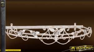 Ciel de lit en demi-lune fer forgé patine blanc antique