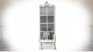 Très grand miroir ornemental patine blanche style baroque 215 cm