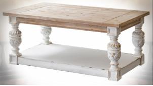 Table basse vintage et rustique patine blanc vieilli 120 cm
