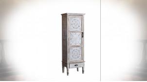 Armoire colonne 1 porte style oriental patine blanche vieillie 160 cm