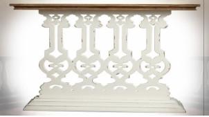 Console baroque esprit gothique en sapin, patine blanche et bois naturel 147 cm