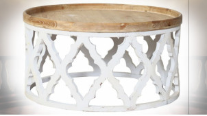 Table basse ronde esprit orientale finition blanc et bois naturel Ø 82 cm