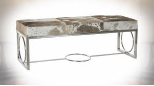 Banquette bout de lit design métal argenté et fourrure de vache 122 cm