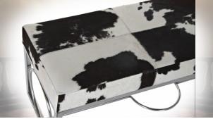 Banquette bout de lit design peau de vache noir et blanc et métal argenté 122 cm