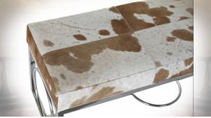 Banquette bout de lit design peau de vache marron clair et métal argenté 122 cm