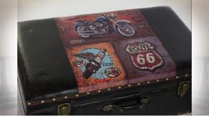 Série de 3 coffres sur pieds en similicuir thème Route 66 US 70 cm