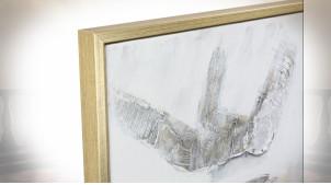 Tableau abstrait effet relief noir et blanc 126 x 95 cm