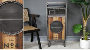 Meuble d'appoint en bois de sapin et métal finition anthracite oxydée, tiroirs et porte en hublot grillagé, ambiance industrielle, 87cm