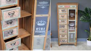Meuble d'appoint à tiroirs en bois de sapin avec impressions de vieilles cartes maritimes, porte vitrée et métal ambiance vestiaire, 127cm