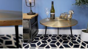 Table basse en métal noir et plateau en laiton, de style Art Déco ambiance rétro chic, Ø60cm