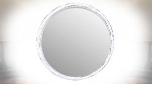 Miroir mural circulaire en bois finition blanc ancien ambiance shabby chic, Ø 47cm
