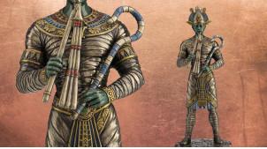 Statuette de Osiris, dieu de l'agriculture et du royaume des morts, en résine finition vieux bronze, collection Divinités, 27cm