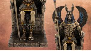 Statuette de Anubis, le seigneur de la Terre sacrée, en résine finition vieux bronze, ambiance Egypte antique, collection Divinités, 27cm