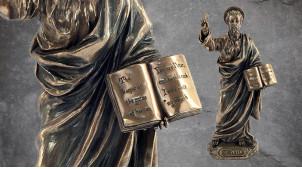 Saint Pierre, représentation du prince des apôtres en résine, finition laiton bronze effet vieilli, collection Terre des Dieux, 21cm
