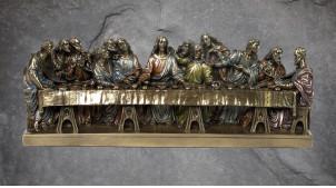 L'Ultima Cena, représentation de l'oeuvre de Léonard De Vinci, en résine finition bronze laiton doré, collection Terre des Dieux, 31cm