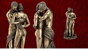 Ensemble et c'est tout, représentation d'un couple enlacé, en résine finition vieux bronze, collection Amoureux éternels, 27cm