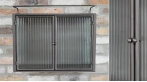 Unité de stockage murale en métal et verre, ambiance industrielle avec vitres épaisses, finition anthracite foncé, 55cm