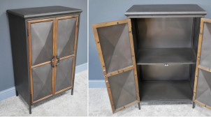 Meuble d'appoint en bois et métal de style indus chic, deux portes avec habillage en diamants, finition anthracite et naturel, 98cm
