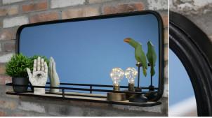 Miroir mural en métal finition noir charbon effet ancien, tablette d'appoint en bois de sapin, ambiance moderne bois métal, 93cm
