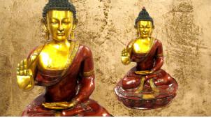 Grande sculpture de Bouddha en laiton massif finition rouge carmin vieilli et doré brillant, 84kg - 115cm