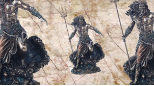Poseidon, représentation du dieu des mers et des oceans en résine finition vieux bronze, collection Mythologie grecque, 19cm