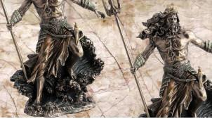 Poseidon, représentation du dieu des rivières et des tremblements de terre, en résine finition vieux bronze, collection Mythologie grecque, 31 cm