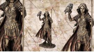 Athéna, représentation de la déesse protectrice des héros, en résine finition vieux bronze, collection Mythologie grecque, 30 cm
