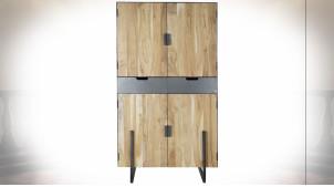 Grande armoire en métal et bois d'acacia finition naturelle ambiance moderne, 185cm
