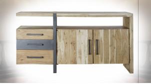 Buffet en bois d'acacia finition naturelle et métal de style moderne, 170cm