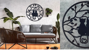Gatitos, grande décoration murale circulaire avec représentation de 2 chats sur une branche, collection DMJ, Ø50cm