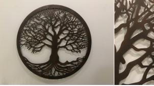 Citronnier, grande décoration d'Arbre de la vie en forme de disque rond, en métal finition noir charbon, collection DMJ, Ø60cm