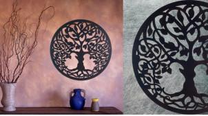 Cornouiller, décoration d'Arbre de la vie en forme de disque rond, en métal finition noir charbon, collection DMJ, Ø50cm
