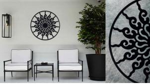 Tamaris, grande décoration d'Arbre de la vie en forme de disque rond, en métal finition noir charbon, collection DMJ, Ø80cm