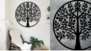 Sorbier, grande décoration d'Arbre de la vie en forme de disque rond, en métal finition noir charbon, collection DMJ, Ø80cm