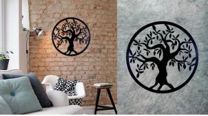 Paulownia, grande décoration d'Arbre de la vie en forme de disque rond, en métal finition noir charbon, collection DMJ, Ø60cm