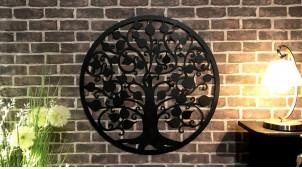 Jujubier, grande décoration d'Arbre de la vie en forme de disque rond, en métal finition noir charbon, collection DMJ, Ø82cm