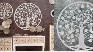Ginkgo biloba, grande décoration d'Arbre de la vie en forme de disque rond, en métal finition blanc ancien, collection DMJ, Ø82cm