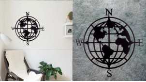 Grand planisphère avec points cardinaux, décoration murale en métal de style moderne contemporain, finition noir charbon, Ø80cm