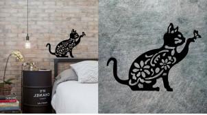 Représentation d'un chat en métal finition noir, décoration intérieur ou extérieur, originale et surprenant, finition noir charbon, 51cm
