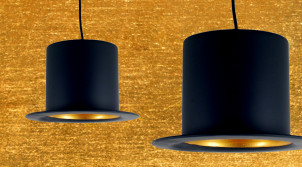 Suspension lumineuse originale en forme de chapeau Haut de forme, en métal finition noir et or, ambiance réro chic, Ø25cm