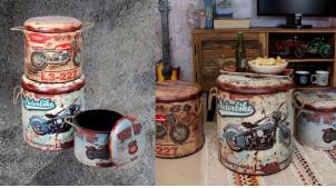 Série de 3 poufs/coffres en bois et habillage polyester, ambiance garage effet métal rouillé avec impressions de motos, Ø40cm