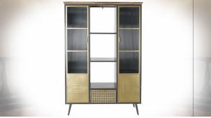 Bibliothèque en verre ondulé et métal finition noire et dorée de style industriel, 182cm