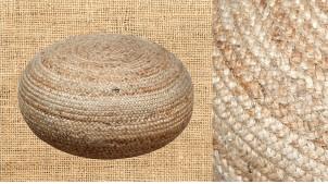 Gros pouf en jute naturelle tréssée, de forme ovoïde, finition brute, ambiance campagne belles matières, Ø66cm